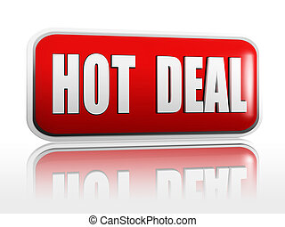 hot deal banner - hot deal 3d red banner with white text