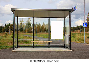 Bus Stop Shelter with Blank Billboard - Modern Bus Stop...