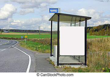 Bus Stop Shelter with Blank Billboard - Rural bus stop...