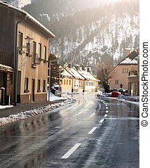 Winter village - street in winter city
