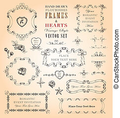 Vintage Flourishes, Frames and Hearts - Elegant hand-drawn...