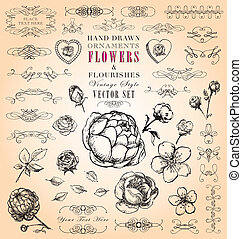 Vintage Flowers & Flourishes - Hand-drawn shabby-chic floral...
