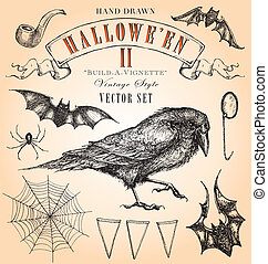 Vintage Halloween II Vector Set - Hand-drawn elements to...