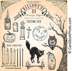 Vintage Halloween III Vector Set - Hand-drawn, easily...