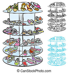 Womens Shoes - An image of a rack of womens shoes