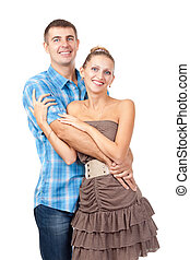 Attractive couple being playful - Happy smiling young...