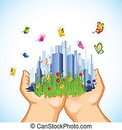 Green City - illustration of man holding grren cityscape...
