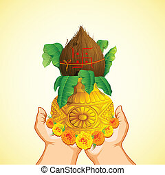 Hand holding Mangal Kalash - illustration of female hand...