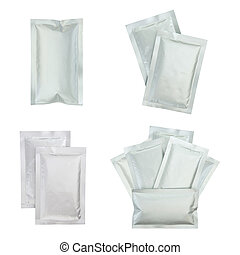 Set of plastic package isolated on white