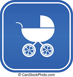 Baby carriage vector sign isolated on white