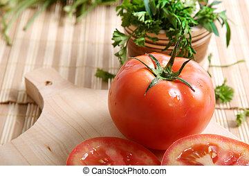 Cilantro - cutting board with tomatoes and cilantro...
