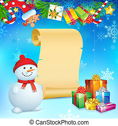 Snowman with Christmas Gift - illustration of snowman with...