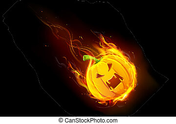 Halloween Pumpkin in Fire - illustration of Halloween...