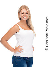 smiling teenage girl in blank white t-shirt - happy teenage...