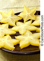 Close up view of the carambola - chinese star fruit, also...
