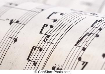 gammal, noteringen, musik