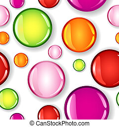 Seamless glossy circles different size and color pattern