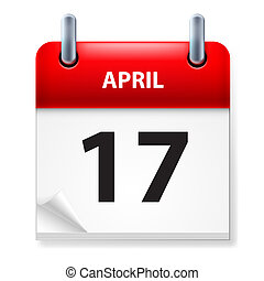 Calendar - Seventeenth in April Calendar icon on white...