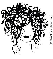 bonito, menina, flores, cabelo