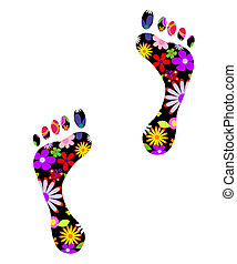 Environmentally friendly footsteps fully editable vector...