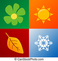 four seasons background fully editable vector illustration