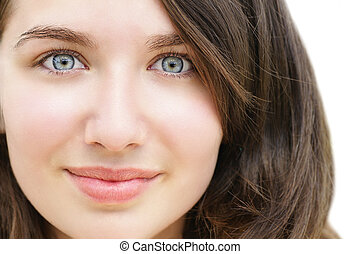 Wide eyed young woman - Portrait of a beautiful young woman,...