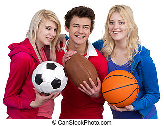 Three teenagers together as a team, isolated on white