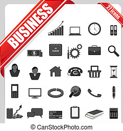 Business Icon - illustration of set of simple business icon