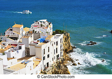 Sa Penya District in Ibiza Town, Balearic Islands, Spain -...