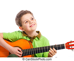boy with classical Spanish guitar - Cute boy with classical...