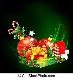 Colorful Christmas Gift - illustration of decorated bauble...