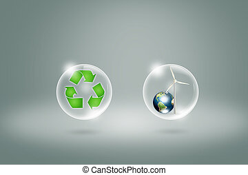 Eco concept : recycling symbol in bubble with earth and...