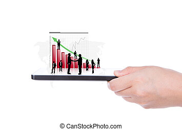 Hand holding the modern digital tablet pc with success growth chart