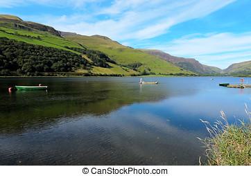 Tal-y-llyn Lake in Snowdonia National Park Gwynedd Wales.