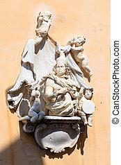 Sculptures of XVI c. on wall of Corfu City Hall