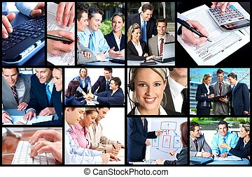 Business people collage - Business people team working in...