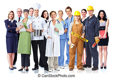 Group of industrial workers Isolated on white background