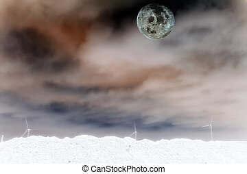 dark sky 4 - a full moon peering over the clouds on a stormy...