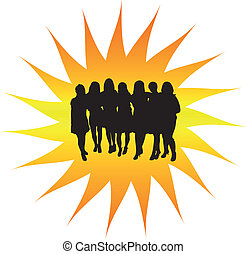 Women's group silhouette - A women's group silhouette