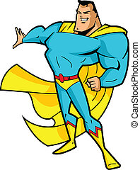 Big Chin Superhero - Big chin smiling superhero in heroic...