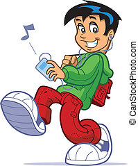 Boy Listening To Music - Cool kid with big sneakers and...