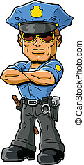 Policeman - Tough confident macho policeman with cool...