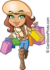 Shopping Girl - Pretty stylish brunette girl is very happy...