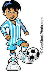 Soccer Player - Confident smiling young man boy soccer...