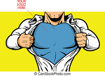 Superhero Chest for Your Logo - Comic book superhero opening...