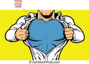 superhero, peito, seu, logotipo