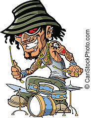 Tattoo Drummer - Wild rock musician drummer has bling and...