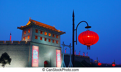 Ancient city wall of Xian China against blue sky