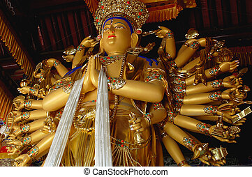 Thousand-hand Goddess - Golden Goddess of Mercy with one...