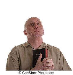 homem, Marrom, camisa, bíblia, orando